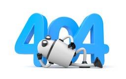 El robot descansa al lado de los números 404 - el error no encontrado 404 de la página Imagen de archivo
