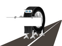 El robot está en el camino Imagen de archivo