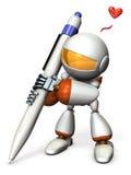 El robot lindo dibuja mientras que está excitado stock de ilustración