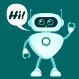 El robot lindo dice hola Icono de Chatbot stock de ilustración