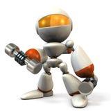 El robot lindo, ha moderado el cuerpo con pesa de gimnasia Fotografía de archivo libre de regalías