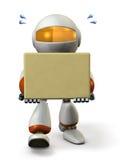 El robot lindo lleva una caja de cartón Imagen de archivo