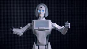 El robot moderno llama gesticular con su brazo biónico almacen de metraje de vídeo