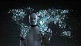 El robot, pantalla táctil del cyborg, diverso icono de la tecnología de la atención sanitaria conecta el mapa del mundo global, p ilustración del vector