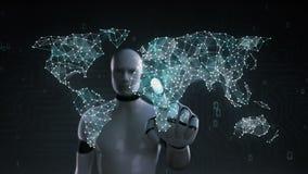 El robot, pantalla táctil del cyborg, icono de las compras de Internet conecta el mapa del mundo global, crece la red en línea de stock de ilustración