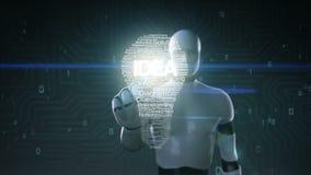 El robot, pantalla tocada cyborg, los textos numerosos hace la luz de bulbo, mostrando ` del ` IDEA del texto ilustración del vector