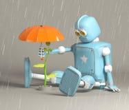 El robot retro protege el brote, planta, 3d, rinde stock de ilustración