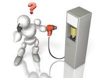 El robot se está preguntando cómo él puede utilizar la fuente de alimentación de la energía de la generación siguiente. Fotografía de archivo