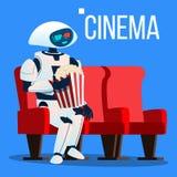 El robot se sienta en silla en cine en los vidrios 3D y mantiene las palomitas vector de las manos Ilustración aislada