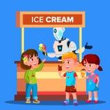 El robot vende el helado al vector feliz de los muchachos y de las muchachas Ilustración aislada