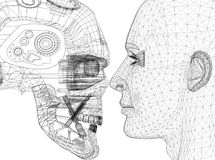 El robot y la cabeza humana diseñan - arquitecto Blueprint - aislado