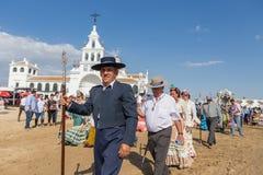 EL ROCIO, ANDALOUSIE, ESPAGNE - 22 mai : Romeria après visite du sanctuaire va au village Photo stock