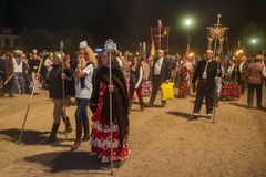 El ROCIO, ANDALUCIA, SPAIN - MAY 24: Night convergence of all romerias to the solemn prayer and celebration. Royalty Free Stock Image
