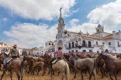 El ROCIO, ANDALUCIA, SPANIEN - 26 JUNI 2016: Religiös beröm, dopvildhästarna framme av kyrkan arkivbild