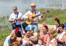 El Rocio, Spain-May 22, 2015 Spaniards celebrate a religious festival, singing and dancing during initiation . El Rocio, Spain-May 22, 2015 Spaniards celebrate Stock Photography