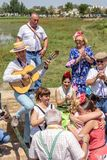 El Rocio, Spain-May 22, 2015 Spaniards celebrate a religious festival, singing and dancing during initiation . El Rocio, Spain-May 22, 2015 Spaniards celebrate Stock Photo