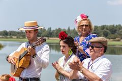 El Rocio, Spain-May 22, 2015 Spaniards celebrate a religious festival, singing and dancing during initiation . El Rocio, Spain-May 22, 2015 Spaniards celebrate Royalty Free Stock Photos