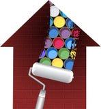 El rodillo de pintura abre los ladrillos ilustración del vector