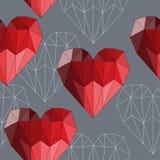 El rojo brillante coloreó el fondo inconsútil del modelo de los corazones poligonales abstractos geométricos para el uso en el di Fotografía de archivo libre de regalías