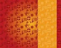 El rojo chino y la panda y el bambú del oro modelan la bandera vertical stock de ilustración