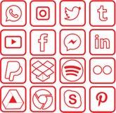 El rojo coloreó los medios iconos sociales para la Navidad foto de archivo libre de regalías