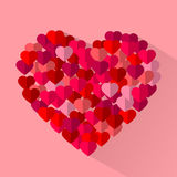 El rojo, corazones planos del amor del vector del rosa, día de fiesta de la tarjeta del día de San Valentín carda el fondo Fotografía de archivo libre de regalías