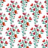 El rojo de la acuarela florece el modelo inconsútil Fondo de la manera Puede ser utilizado para envolver, la materia textil, el p stock de ilustración