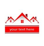 El rojo de las propiedades inmobiliarias de la ciudad de la comunidad contiene el logotipo libre illustration