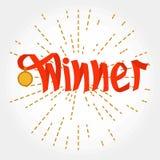 El rojo del ganador de la palabra encendido dotten líneas radiales Fotografía de archivo