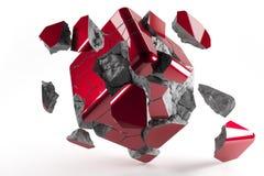 El rojo destructed el cubo 3d con los pedazos que caían de cubo foto de archivo libre de regalías