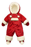 El rojo embroma el mono del invierno aislado en blanco Foto de archivo
