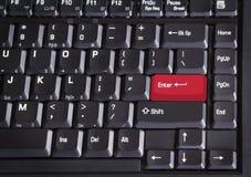 El rojo entra en el teclado de ordenador del botón Fotos de archivo