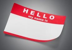 El rojo hola mi nombre es etiqueta con el espacio de la copia, imágenes de archivo libres de regalías