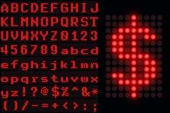 El rojo punteó el sistema de la letra de la pantalla LED Imagen de archivo