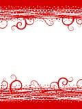 El rojo remolina frontera de la Navidad de la nieve Imagen de archivo libre de regalías