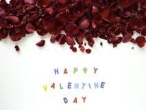 El rojo romántico del amor subió marco de la bandera de las tarjetas del día de San Valentín de los pétalos fotos de archivo libres de regalías