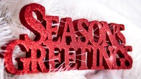 El rojo sazona la muestra de los saludos para la Navidad Fotos de archivo