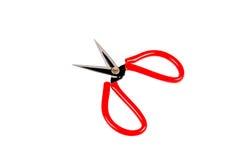 El rojo scissor aislado en el fondo blanco Imagenes de archivo