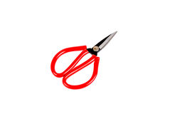 El rojo scissor aislado en el fondo blanco Imágenes de archivo libres de regalías