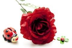 El rojo se levantó con el ladybug Imagenes de archivo