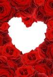 El rojo se levantó en corazón de la forma Imágenes de archivo libres de regalías