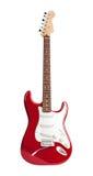 El rojo seis-ató la guitarra eléctrica aislada en blanco foto de archivo