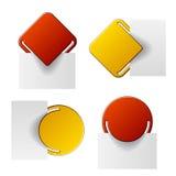 El rojo y el amarillo sujetaron escrituras de la etiqueta Imágenes de archivo libres de regalías