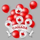 El rojo y el blanco van de fiesta los globos para el día nacional de Canadá Fotografía de archivo libre de regalías