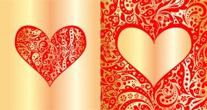 El rojo y el oro diseñan con el modelo y la forma abstractos del corazón para casarse la invitación, saludo del cumpleaños, día d Fotos de archivo