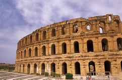 EL romano Djem do Coliseum-, Tunísia fotos de stock royalty free