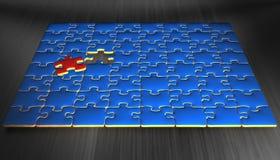 El rompecabezas azul junta las piezas con un pedazos que es rojo Imagen de archivo libre de regalías