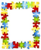 El rompecabezas colorido junta las piezas del marco Imagen de archivo libre de regalías