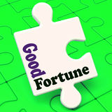 El rompecabezas de la buena fortuna muestra ganar afortunado o afortunado Fotografía de archivo libre de regalías