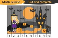 El rompecabezas de la matemáticas, imagen de Halloween con la bruja en el estilo de la historieta, juego de la educación para el  stock de ilustración